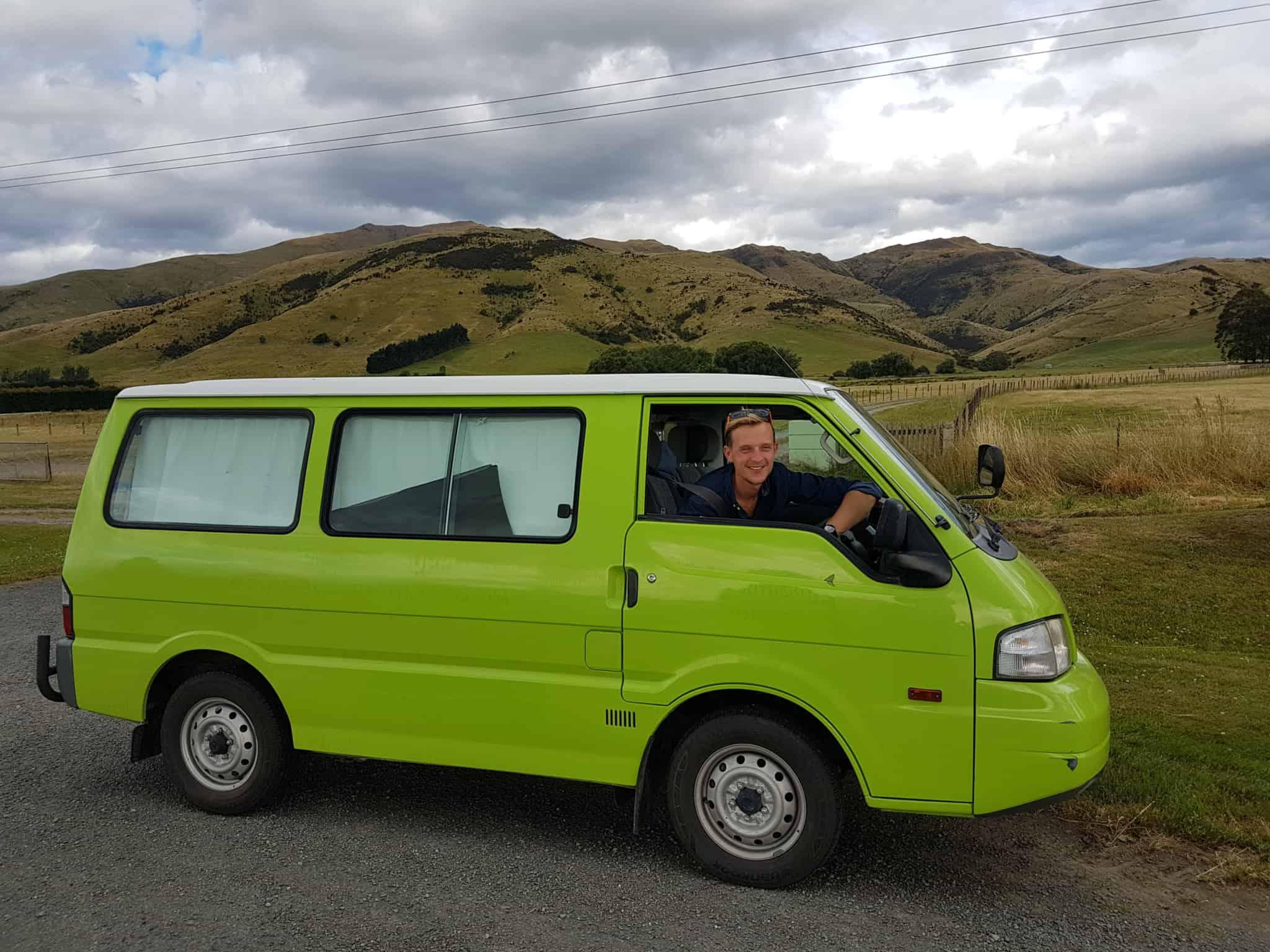 Le van des Heureux Voyageurs en Nouvelle-Zélande