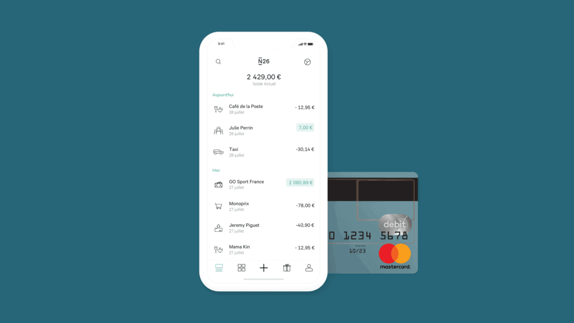 Interface application N26 - Banque N26 pour voyager